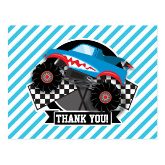 Shark Monster Truck; Checkered Flag; Blue Stripes Postcard