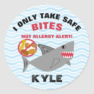 Shark Nut Allergy Alert Customized Cute Kids Round Sticker