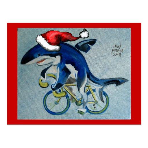 Shark on a Bicycle Postcard