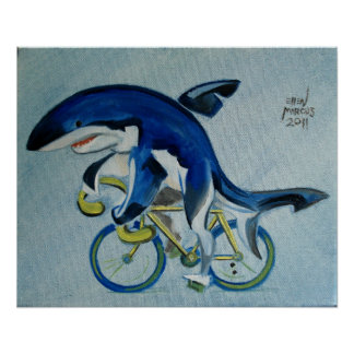 Shark On A Bicycle Posters