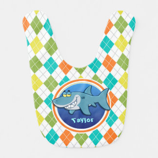 Shark on Colorful Argyle Pattern Baby Bib