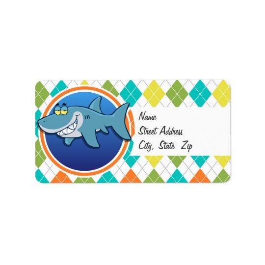 Shark on Colourful Argyle Pattern Address Label