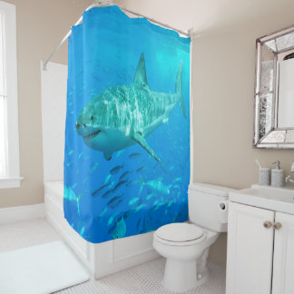 Shark on Patrol Shower Curtain