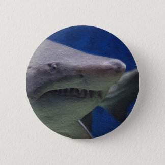 Shark painting. 6 cm round badge