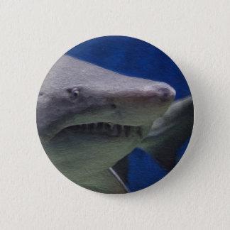 Shark painting. 6 cm round badge