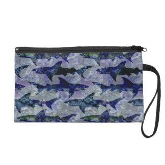Shark Pattern in Purple and Blue Wristlet Purse