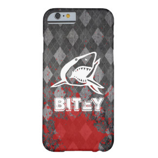 Shark Pictogram on Grungy Black Argyle Barely There iPhone 6 Case
