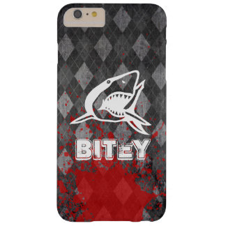 Shark Pictogram on Grungy Black Argyle Barely There iPhone 6 Plus Case