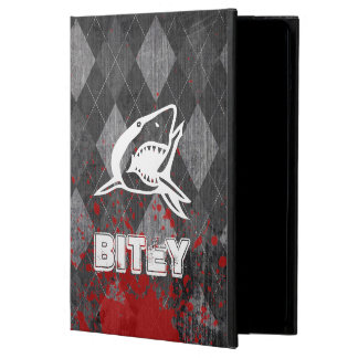 Shark Pictogram on Grungy Black Argyle Cover For iPad Air