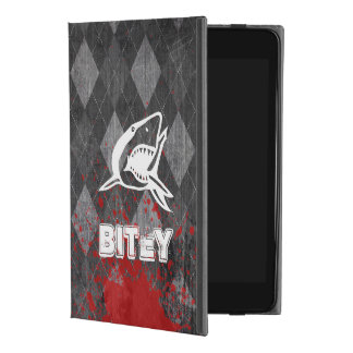 Shark Pictogram on Grungy Black Argyle iPad Mini 4 Case