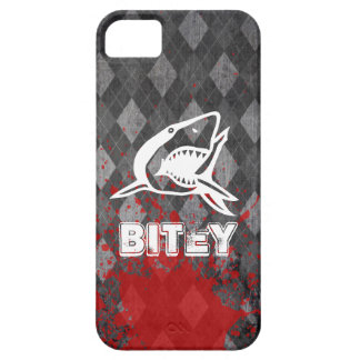 Shark Pictogram on Grungy Black Argyle iPhone 5 Cases