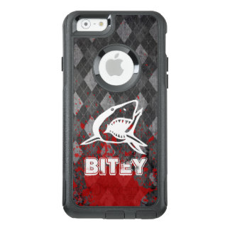 Shark Pictogram on Grungy Black Argyle OtterBox iPhone 6/6s Case