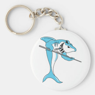 Shark Playing Billiards Basic Round Button Key Ring