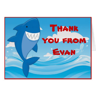 Shark Pool Birthday Party Thank You Note Card