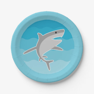 Shark Pool Party Paper Plates 7 Inch Paper Plate