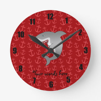 Shark red anchors pattern round clock
