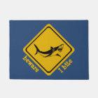 shark road sign - doormat