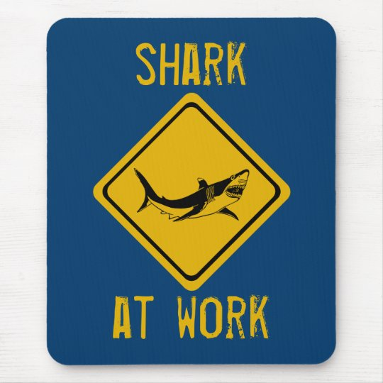 shark road sign mouse pad