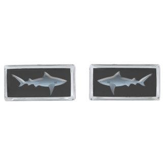 Shark Silver Finish Cuff Links