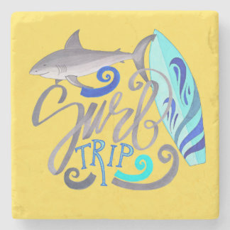 Shark Surf Trip Summer Surfing Stone Coaster
