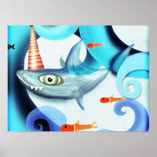 Shark Surfing Swirly Poster