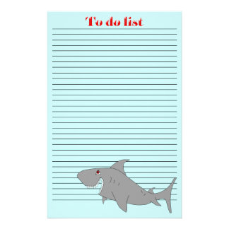 Shark To Do List Stationery Paper