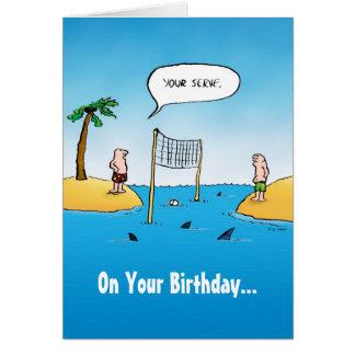 Shark Volleyball Funny Cartoon Birthday Card
