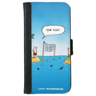Shark Volleyball Funny Cartoon iPhone 6 Wallet Case