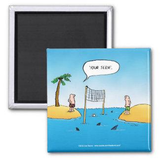 Shark Volleyball Funny Cartoon Magnet