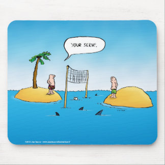 Shark Volleyball Funny Cartoon Mouse Mat