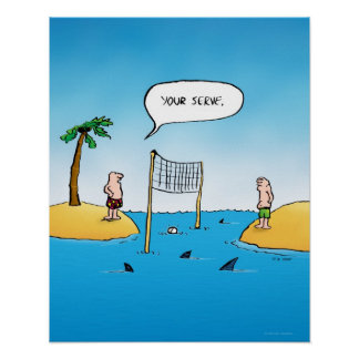 Shark Volleyball Funny Cartoon Poster