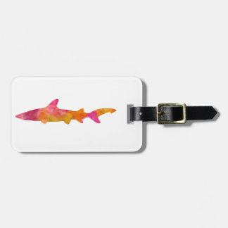 Shark Watercolor Silhouette Pink Yellow Sharks Luggage Tag