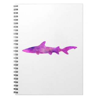 Shark Watercolor Silhouette Purple Pink Blue Notebook