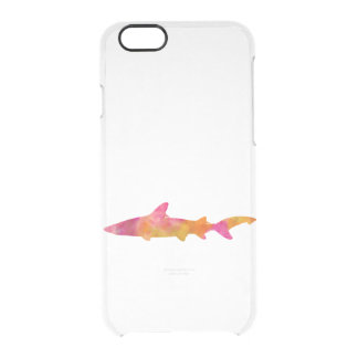 Shark Watercolor Silhouette Tie Dye Sharks Pink Clear iPhone 6/6S Case