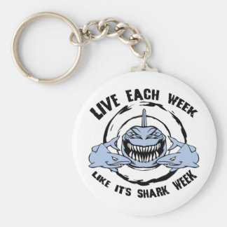 Shark Week Basic Round Button Key Ring