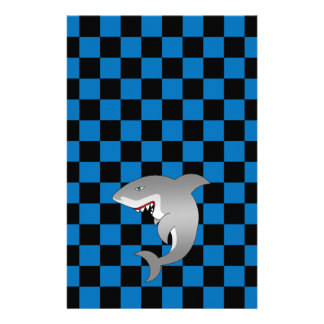 Shark with blue checkers stationery