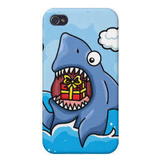 Shark with Present iPhone 4 Cases