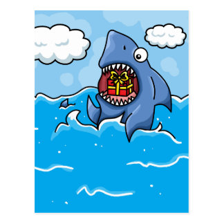Shark with Present Postcard