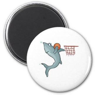 sharking dunking basketball 6 cm round magnet