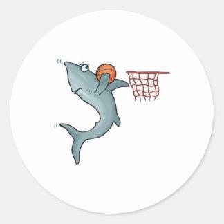 sharking dunking basketball round sticker