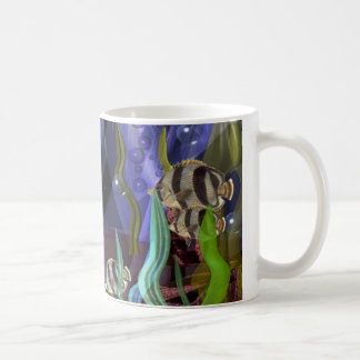 Sharks and fish swim on sea-life mug