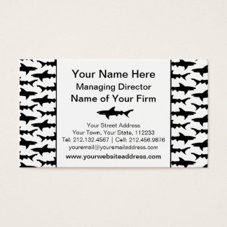 Sharks - Elegant Black and White Shark Pattern Business Card