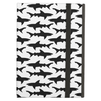 Sharks - Elegant Black and White Shark Pattern Cover For iPad Air