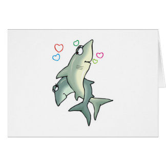 sharks in love greeting card