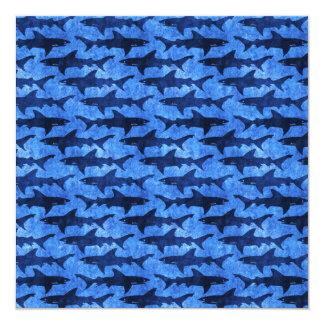 Sharks in the Deep Blue Sea 13 Cm X 13 Cm Square Invitation Card