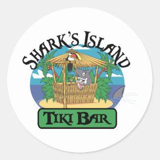 Shark's Island Tiki Bar Classic Round Sticker