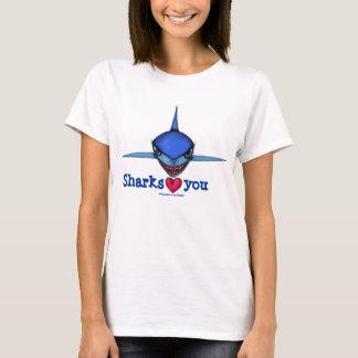 Sharks love you cartoon art funny t-shirt design