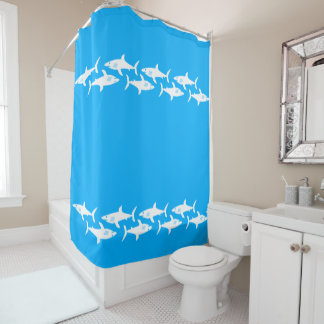 Sharks On Turquoise Shower Curtain