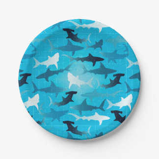 sharks! paper plate