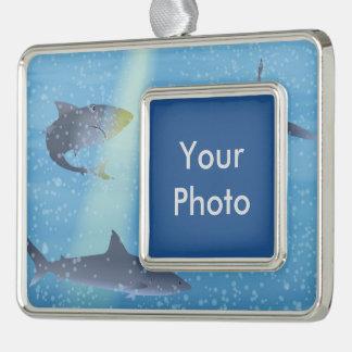 Sharks Silver Plated Framed Ornament